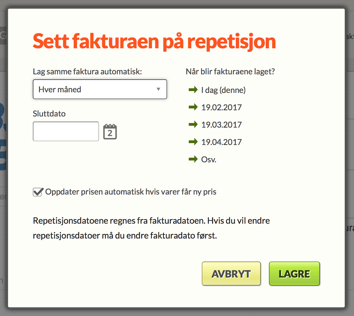 a8940b39 Sette faktura på repetisjon   Conta Hjelp