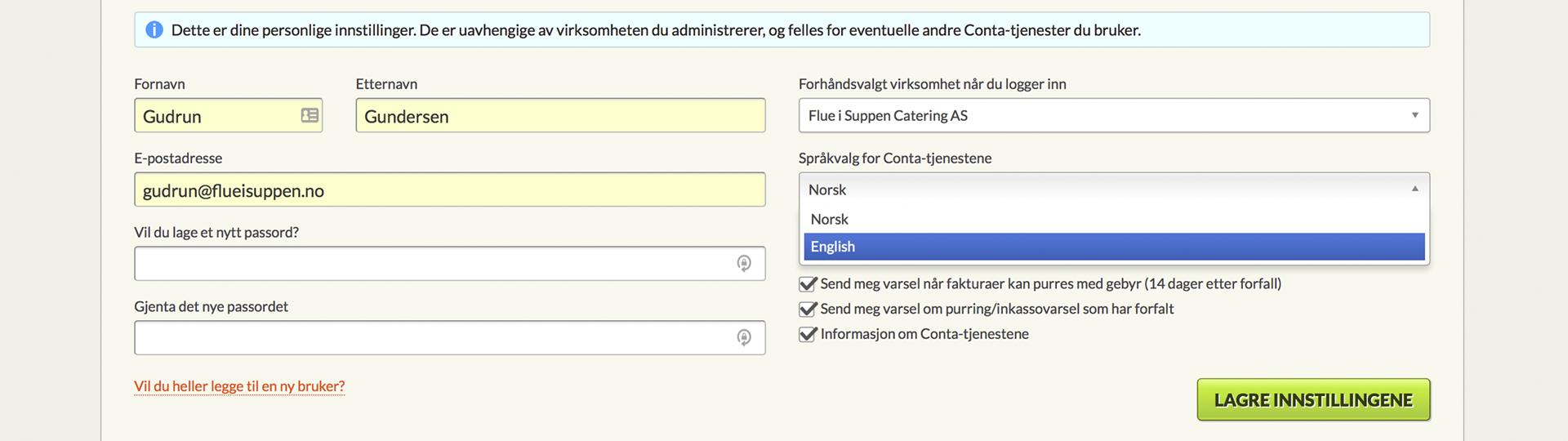 skjermbilde av språkvalg